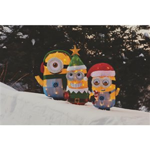 Universal Holiday Tinsel Minion Dave,Non-Animatronic 20-in Freestanding Licensed Sculpture with White Incandescent Light