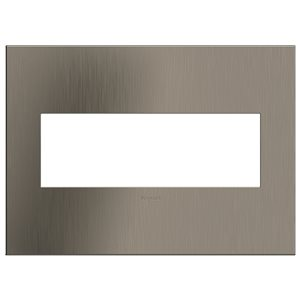 Legrand adorne 3-Gang Square Smooth Metal Wall Plate (Satin Nickel)