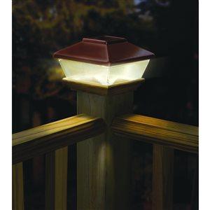 Deckorators 6-in x 6-in Copper Solar LED Plastic Pine Deck Post Cap