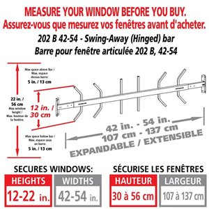Mr. Goodbar 42-in x 12-in Swing-Away Window Security Bar (White)