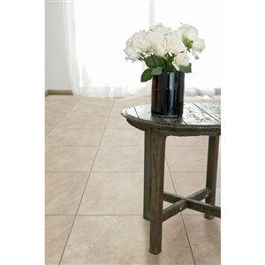 Style Selections Sienna 18-in x 18-in Almond Porcelain Floor Tile