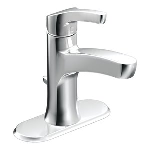 Moen Danika Chrome 1-Handle Single Hole 4-in Centerset WaterSense Bathroom Sink Faucet with Drain