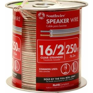 Southwire 250-ft 16 Awg to 2 Standard Speaker Wire (By-The-Roll)