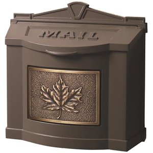 Gaines Manufacturing Lockable Wall Mailbox with Antique Bronze Leaf Template