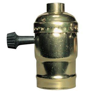 Pass & Seymour/Legrand 600-Watts 250-Volts Brass Single Circuit For 3-Way Turn Knob Metal Shell Lamp Holder