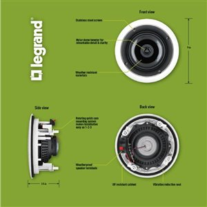 On-Q/Legrand Set Of 2 100-Watt evoQ 1000 6.5-in Round In-Ceiling Speaker