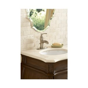 Giagni Andante Brushed Nickel 1-Handle Single Hole 4-in Centerset WaterSense Bathroom Sink Faucet with Drain