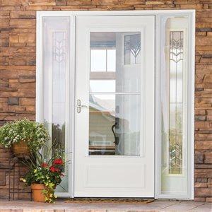 LARSON Savannah 34-in x 81-in (Actual: 33.75-in W x 79.88-in H) Sandstone Mid-View Tempered Glass Retractable Wood Core Storm Door