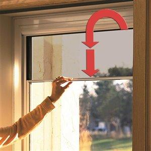 LARSON Savannah Sandstone Mid-View Tempered Glass Retractable Wood Core Storm Door