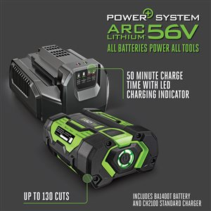 EGO POWER+ 56V BRUSHLESS 14-in Electric Chain Saw, Auto-Tensioning, 6,800 RPM (2.5Ah Battery and Charger Included)