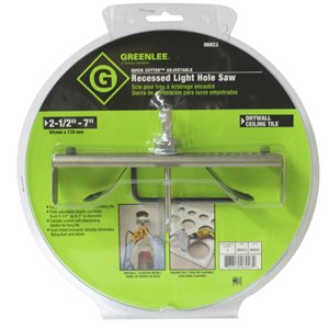 Greenlee 2-1/2-in to 7-in Carbide-Tipped Arbored Recessed Lighting Hole Saw
