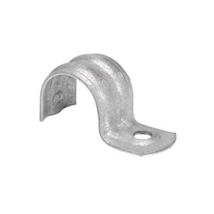 Iberville One Hole EMT Strap, Trade Size 1/2 In, Maximum EMT Diameter 0.71 In, Hole Size 1/4 In, Material Galvanized Steel, Box of 60