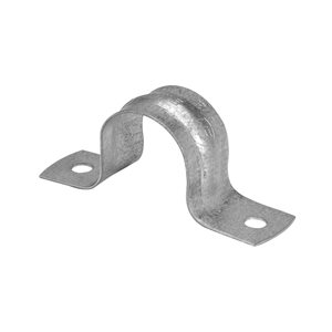 Iberville Two Hole EMT Strap, Trade Size 3/4 In, Maximum EMT Diameter 0.92 In, Hole Size 3/16 In, Material Galvanized Steel, Box of 50