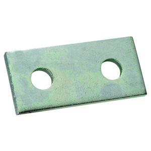 Superstrut Plate, Two Hole Splice, Length 3-1/2 In, Width 1-5/8 In, Hole Diameter 9/16 In, Electro Galvanized Steel