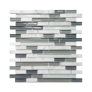 5/8-in Arctic Strip White & Gray Stone/Glass Wall Tile