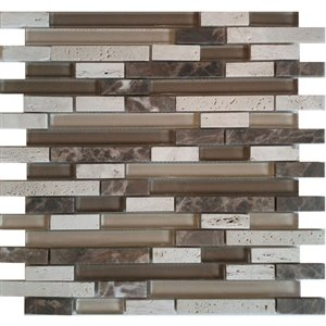 Avenzo 12-in x 12-in Avenzo Mosaic Beige Mixed Material Wall Tile
