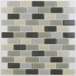 Avenzo 12-in x 12-in Avenzo Mosaic Gray Glass Wall Subway Tile