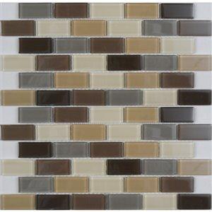 Avenzo 12-in x 12-in Avenzo Mosaic Beige Glass Wall Subway Tile