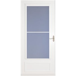 LARSON Savannah White Mid-View Tempered Glass Retractable Wood Core Storm Door