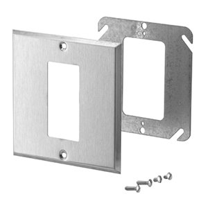 Iberville 2-Gang GFCI Conversion Wall Plate (Stainless Steel)