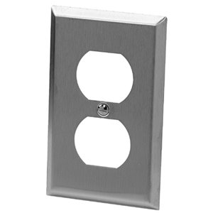 Iberville 1-Gang Duplex Receptacle Wall Plate (Stainless Steel)