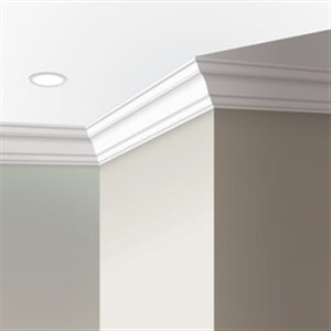 9/16-in x 3-5/16-in x 12-ft Primed MDF Crown Moulding (Pattern 8058)