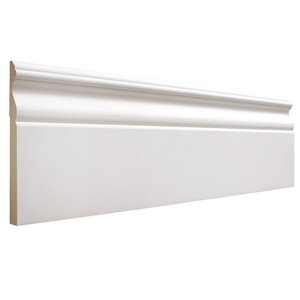19/32 x 5-1/4 x 12-ft Colonial Primed MDF Baseboard Moulding