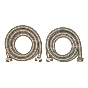 EASTMAN 2-Pack 6-ft L 3/4-in Hose Thread Inlet x 3/4-in Outlet Stainless Steel Washing Machine Drain Hose