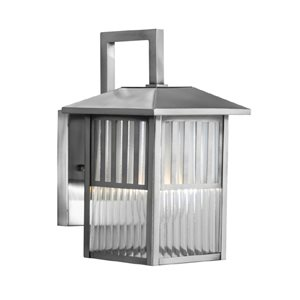 allen + roth Lancetti 10-3/4-in Brushed Nickel Outdoor Wall Light
