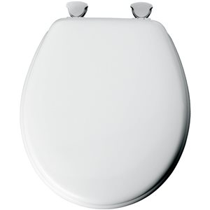 Mayfair Easy Clean and Change White Wood Round Toilet Seat