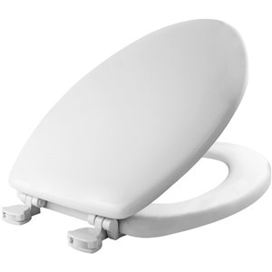 Mayfair Easy Clean and Change White Wood Elongated Toilet Seat