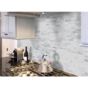 Faber 12-in x 16-in Polished White Natural Stone Wall Tile