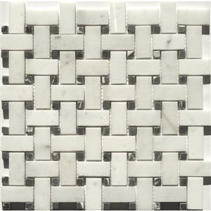Faber 12-in x 12-in Carrara Extra Marble Basketweave Mosaic Wall Tile