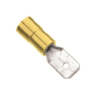 Marr Male Disconnect Terminal 1/4 In, Tab, Yellow for 12-10 AWG Wire, Vinyl Insulated, Package of 6