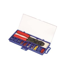 Marr Terminal Kit of The Most Popular Vinyl Insulated Terminals 100 pcs, Colour Coded Red, Blue and Yellow for The Appropriate AWG, Small Crimping Tool Included