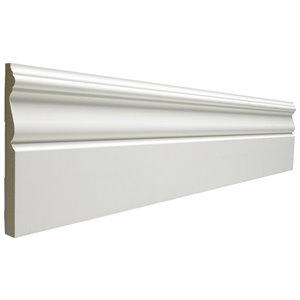 1-Piece 0.594-in x 5.25-in x 12-ft Interior Primed Mdf Base Moulding (Pattern B 312)