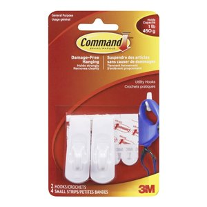 3M Command Small Adhesive Utility Hook (2-Pack)
