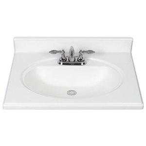 White Cultured Marble Integral Bathroom Vanity Top (Common: 25-in x 22-in; Actual: 25-in x 22-in)