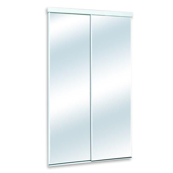 White Mirrored Sliding Door Common 48, White Mirror Sliding Closet Door