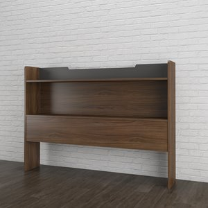 Nexera 40-In x 55.25-In Full Size Matte Charcoal Lacquer And Walnut Laminate Storage Headboard
