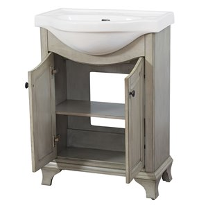 Foremost Corsicana 24-in Antique Gray Bathroom Vanity with China Top