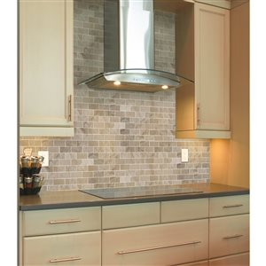 Faber 12-in x 14-in Palace Taupe Polished Marble Mosaic Subway Wall Tile
