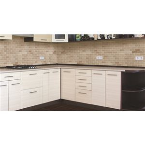 Faber 12-in x 14-in Crema Marfil Polished Marble Mosaic Subway Wall Tile