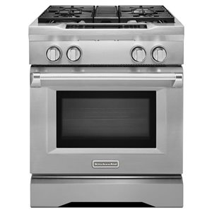 KitchenAid 30-in 4-Burner Convection Single Oven Dual Fuel Range (Stainless Steel)