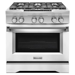 KitchenAid Deep recessed 6-Burner Self-Cleaning Convection Single Oven Dual Fuel Range (Imperial White) (; Actual: 36.0-in)