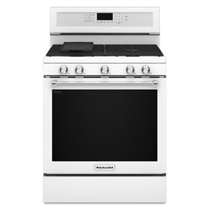 KitchenAid 5 Burners 5.8-cu ft Self-Cleaning Convection Gas Range (White) (Common: 30-in; Actual: 29.875-in)