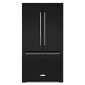 KitchenAid 36-in 20-cu ft French Door Counter-Depth Refrigerator (Black) ENERGY STAR