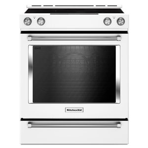 KitchenAid 30-in 7.1 cu ft Electric Range with Self-cleaning Convection Oven (White)