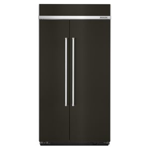 KitchenAid 25.5-cu ft Standard-Depth Built-In Side-by-Side Refrigerator (Fingerprint-Resistant Black Stainless)