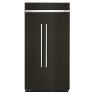 KitchenAid 25.5-cu ft Standard-Depth Built-In Side-by-Side Refrigerator (Fingerprint-Resistant Black Stainless)
